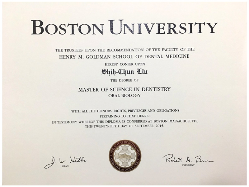 美國波士頓大學牙周病專科證書-林士峻醫師